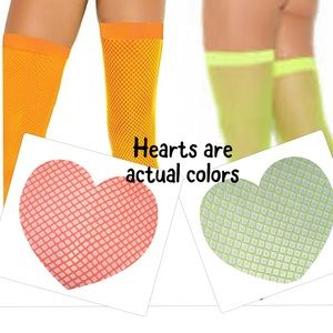 Neon green and orange Fishnet Thigh Highs 2 Pairs